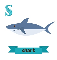 Shark s letter cute children animal alphabet in vector