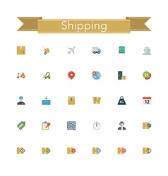 Shipping Flat Icons vector image