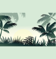 Silhouette of jungle forest beauty scenery vector