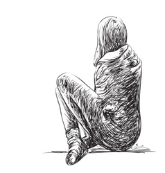 Sketch of woman seating isolated vector