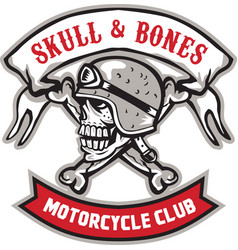 Skull bones bike helmet ribbon retro vector