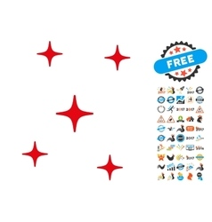 Sky Stars Icon with 2017 Year Bonus Pictograms vector image