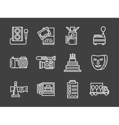 White line icons for party vector image