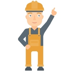 Worker in hard hat pointing up with finger vector