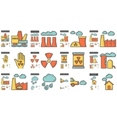 Ecology biohazard line icon set vector