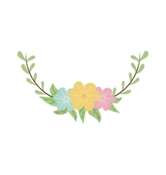 Colorful decorative half crown branch floral vector