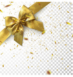 Golden bow and ribbon with sparkling confetti vector