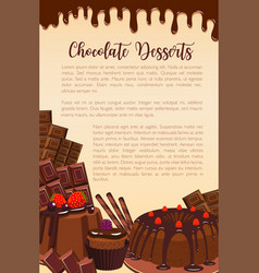 Poster of chocolate desserts bakery vector
