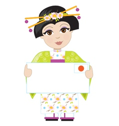 Japan girl sign vector