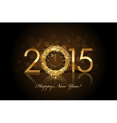 2015 happy new year background with gold clock vector