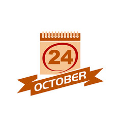 24 october calendar with ribbon vector image