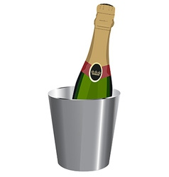 Champagne in ice bucket vector
