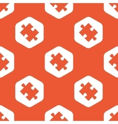 Orange hexagon puzzle pattern vector