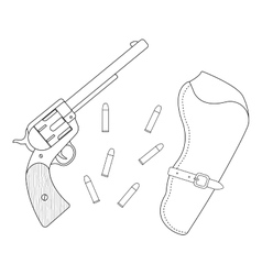 Revolver leather holster bullets contour vector