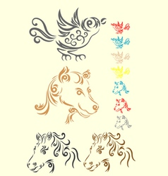 Animal set tribal vector