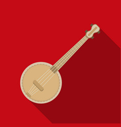 banjo icon in flat style isolated on white vector image