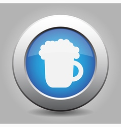 blue metal button with beer vector image vector image