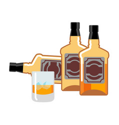 Bottle and glass of whiskey and ice flacon scotch vector