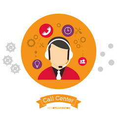 Call center people working with head vector