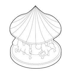 Carousel with horses icon outline style vector