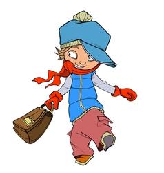 cartoon cheerful teenage boy with a briefcase vector image vector image