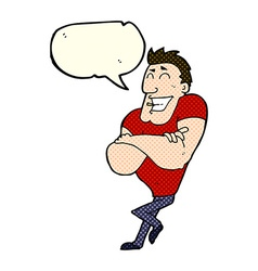 Cartoon muscle guy with speech bubble vector