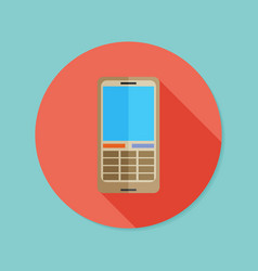 Cell phone flat icon with long shadow eps10 vector