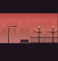 Chair and lamp on the street scenery silhouettes vector