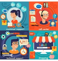 Customer and technical support call center concept vector