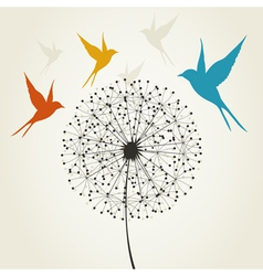 Dandelion and bird vector