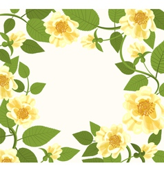 Decorative Border With Yellow Roses vector image vector image