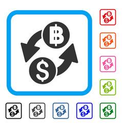 Dollar baht exchange framed icon vector