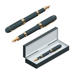 Elegant gold plated business fountain pen isolated vector