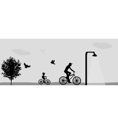 Family riding bikes in the park vector