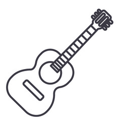 flamenco guitar line icon vector image