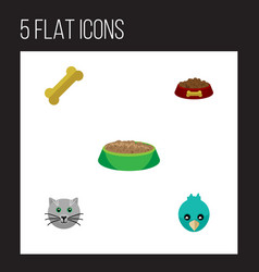 flat icon animal set of sparrow osseous rabbit vector image vector image