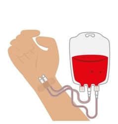 Hand and blood bag donation vector
