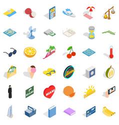 Happy icons set isometric style vector