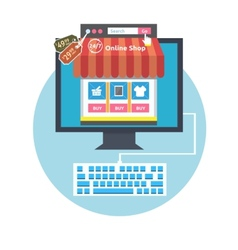 Internet shopping process vector image vector image