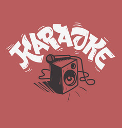 Karaoke lettering music design with a speaker and vector