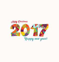 merry christmas new year 2017 fun typography card vector image vector image