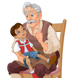Mister geppetto and pinocchio vector