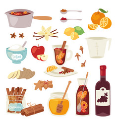 mulled wine christmas winey beverage punch vector image