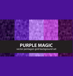 Pentagon pattern set purple magic seamless vector