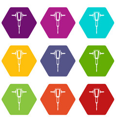 Pneumatic plugger hammer icon set color hexahedron vector