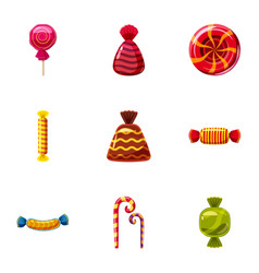 Popular sweets icons set cartoon style vector