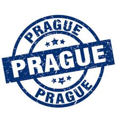 Prague blue round grunge stamp vector