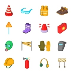 Safety work icons set cartoon style vector