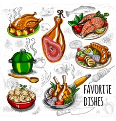 Set color sketch meat fish side dishes vector image
