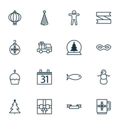 Set of 16 holiday icons includes tree toy gift vector